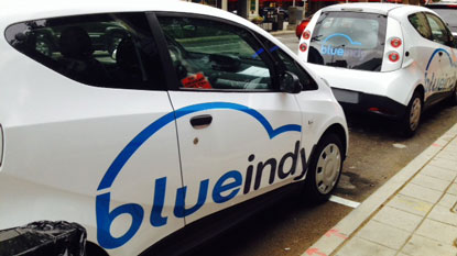 Blue Indy Electric Car...credit WTHR