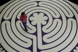 010610_LABYRINTH_CFW- Denver native Patricia Pearce walks the Labyrinth at Central Presbyterian Church in downtown Denver, CO. Pearce, of Philadelphia, PA, has returned to Denver, to be with her mother who is in Hospice care with late stages of cancer. Pe