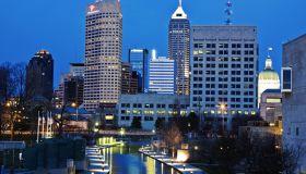 USA, Indiana, Indianapolis, Downtown at night