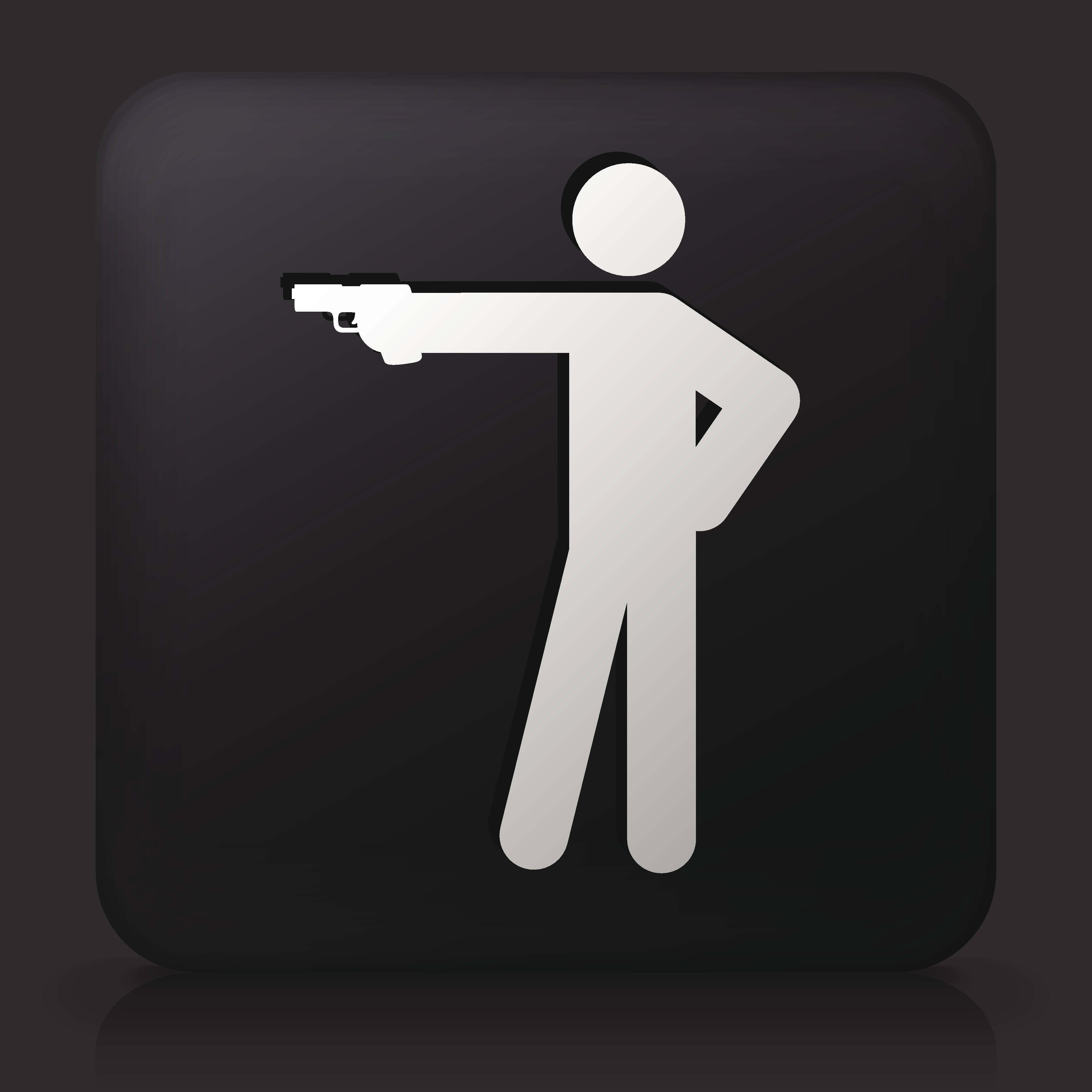 Black Square Button with Stick Figure Shooting