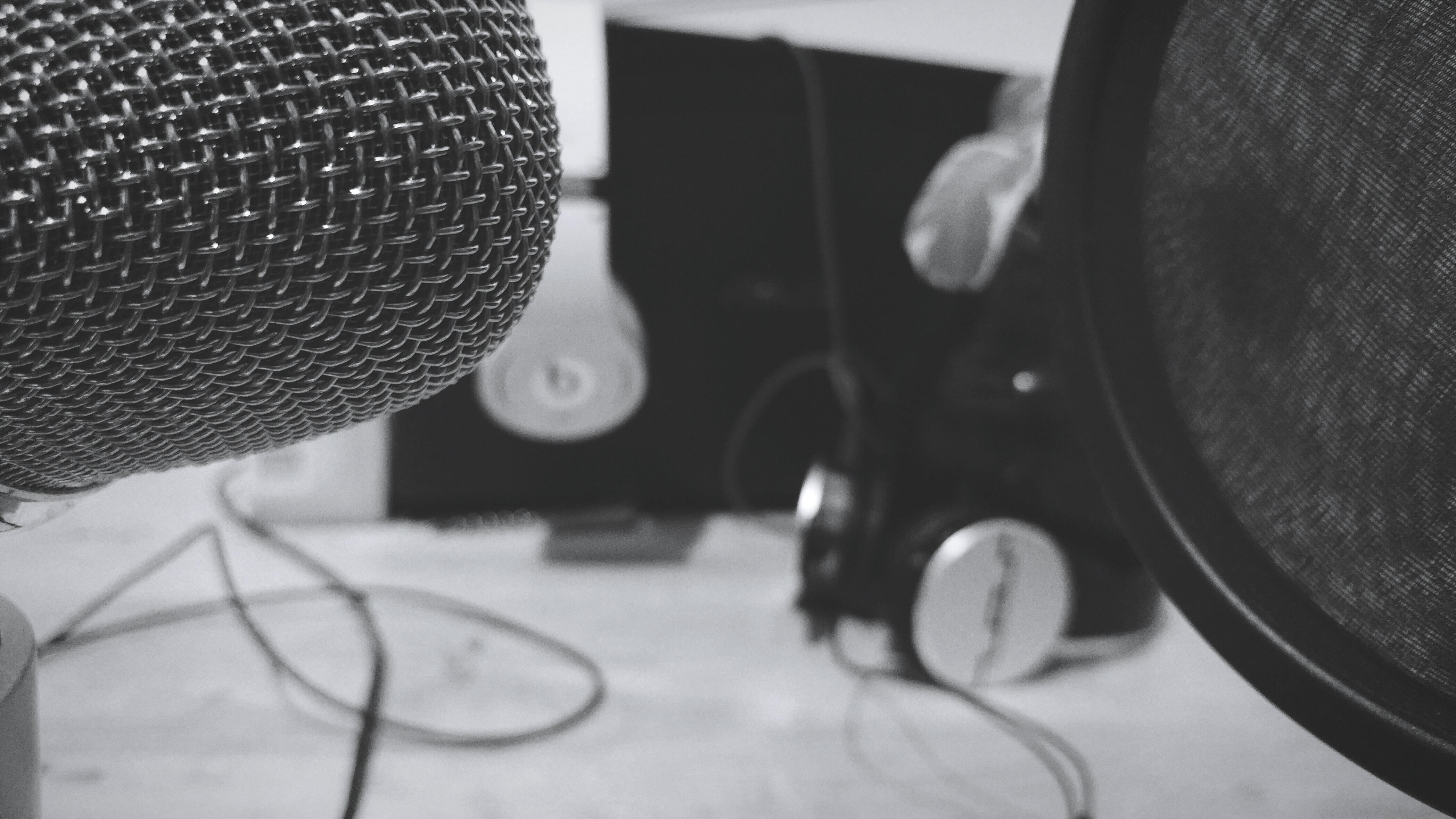 Microphone And Headphones In Studio